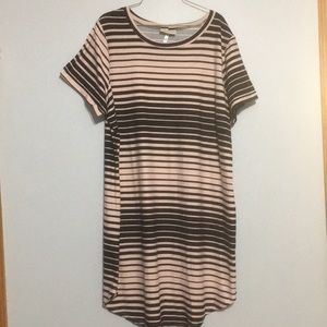 NWT pale pink and black striped dress. Super soft.